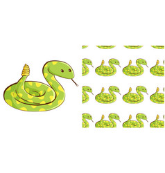 Seamless background design with green snake vector