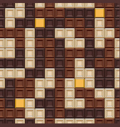 Seamless pattern chocolate cubes sweets tiles vector