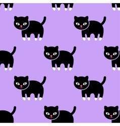 Seamless pattern Kitten on a purple background vector image