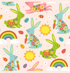 seamless pattern with colorful easter bunnies vector image