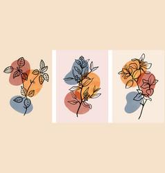 Set abstract botanical wall art with abstract vector