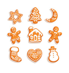 Set christmas and new year gingerbread cookies vector