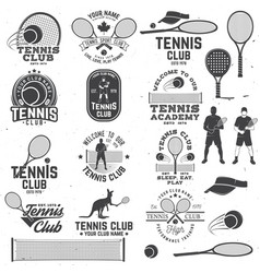 Set of tennis club badges with design element vector