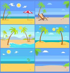 Set tropical coastline views vector