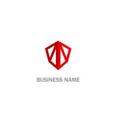 Shield safe line protect company logo vector