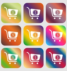 shopping cart icon Nine buttons with bright vector image