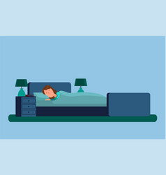 sleeping lady under blanket vector image