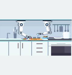 smart handy chef robot preparing tasty pizza vector image