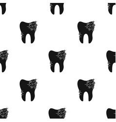 Smiling tooth icon in black style isolated on vector