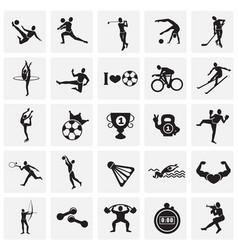 sport disciplines set on squares background vector image