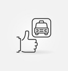 thumbs up with taxi concept outline icon vector image