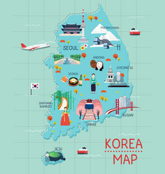 traveling to korea by landmrks icon map vector image