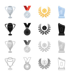 trophy prize meed and other web icon in cartoon vector image vector image