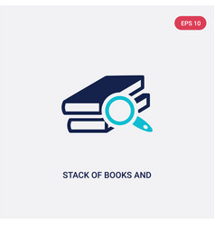 two color stack books and magnifier icon from vector image