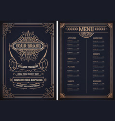 vintage restaurant menu template layered vector image