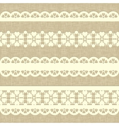 Vintage straight lace on linen canvas background vector
