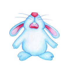 Watercolor of a blue cute easter bunny who is sad vector