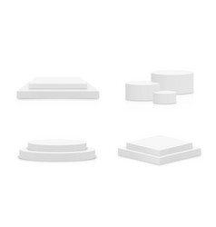 White 3d podium mockup in different shapes set of vector
