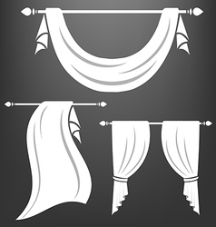 White curtain vintage set vector