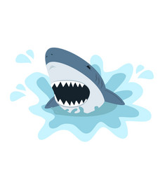 white shark with open mouth vector image