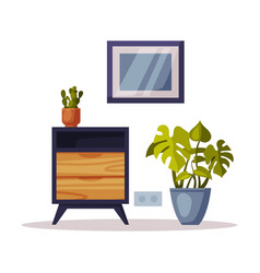 wooden chest drawers potted houseplant and vector image