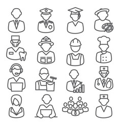 workers and professional line icons on white vector image