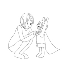 Father and Son Dressing to be Hero no Color vector image