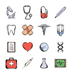 medical icons set cartoon vector image