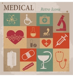 Medical flat retro icons vector image