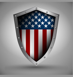 shield with the american flag vector image vector image