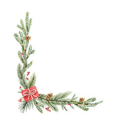 watercolor christmas decorative corner with vector image vector image