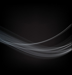 blue wave smoke on black background vector image vector image