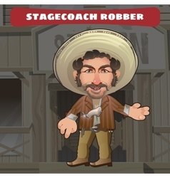 Cartoon character in Wild West - stagecoach robber vector image vector image