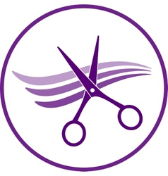 icon with hair and scissors vector image vector image