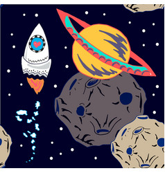 space ship goes around the moon vector image vector image