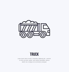 truck flat line icon transportation logo vector image