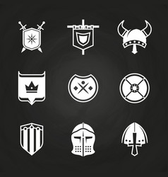 white silhouette viking knight helmets and shields vector image