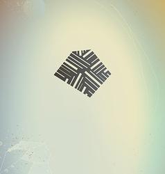 Abstract geometric logo symbol on retro futuristic vector image
