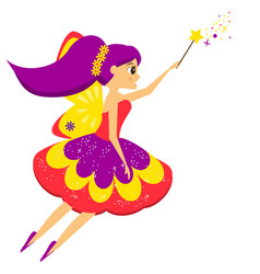 beautiful flying fairy flapping magic wand elf vector image vector image