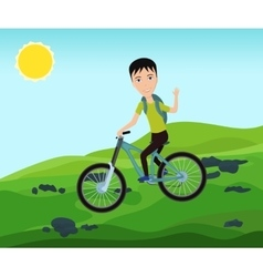 Funny bicyclist traveler with backpack riding a vector image vector image