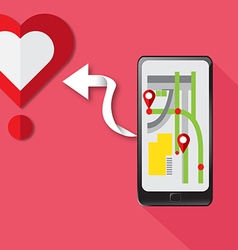 Gps technology smartphone find heart for love vector