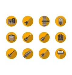 Guitars equipment round flat icons set vector image vector image