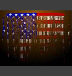 American flag in flowing paint shape vector