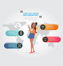 backpacking woman with travel and tourism on vector image