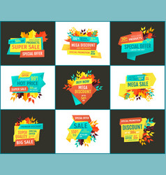 Bargain sell-out discount and sale promo banners vector