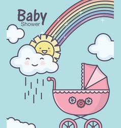 Bashower pink pram rainbowm clouds rain sun vector