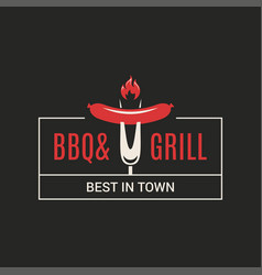 Bbq and grill logo barbecue with fork and sausage vector