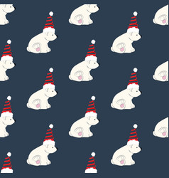 bear in christmas costume seamless pattern vector image