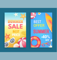 best offer summer sale set vector image
