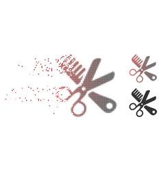 broken pixel halftone comb and scissors tools icon vector image